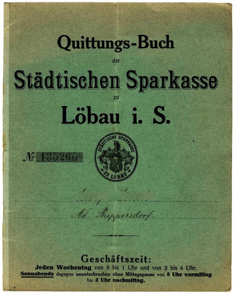 Quittungsbuch der Stadtsparkasse Löbau