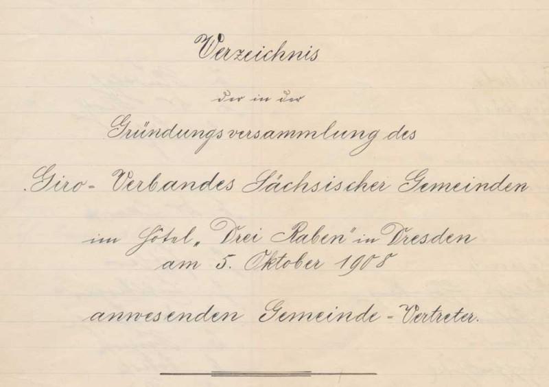 Liste der anwesenden Vertreter der Gemeinden bei der Gründungsversammlung des Giroverbandes
