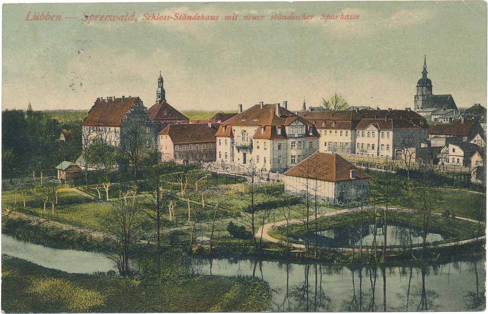 Ansichtskarte Schloss Ständehaus Hauptsparkasse Luebben 1909
