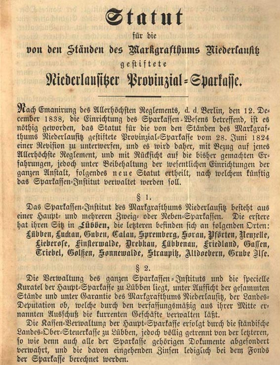 Statut Sparkasse Lübben 1897