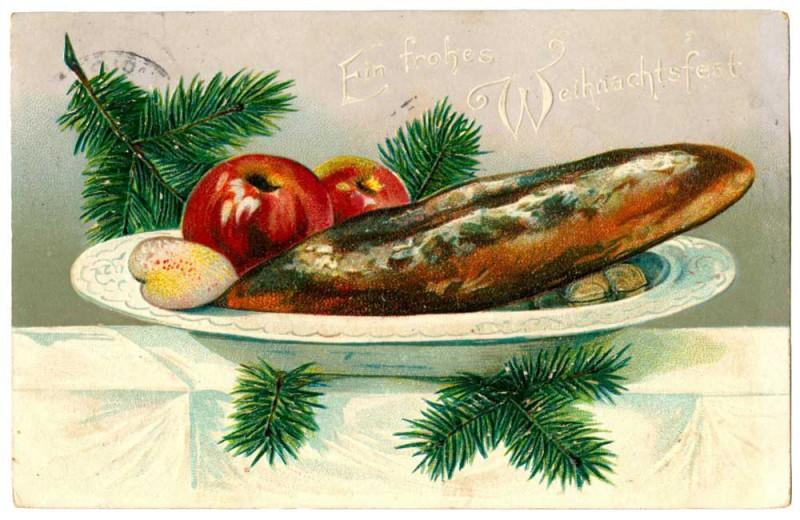 Ansichtskarte Weihnachten Stollen