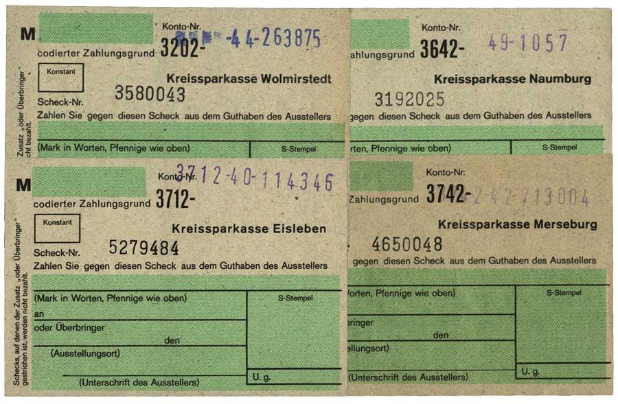 Schecks von Sparkassen der DDR