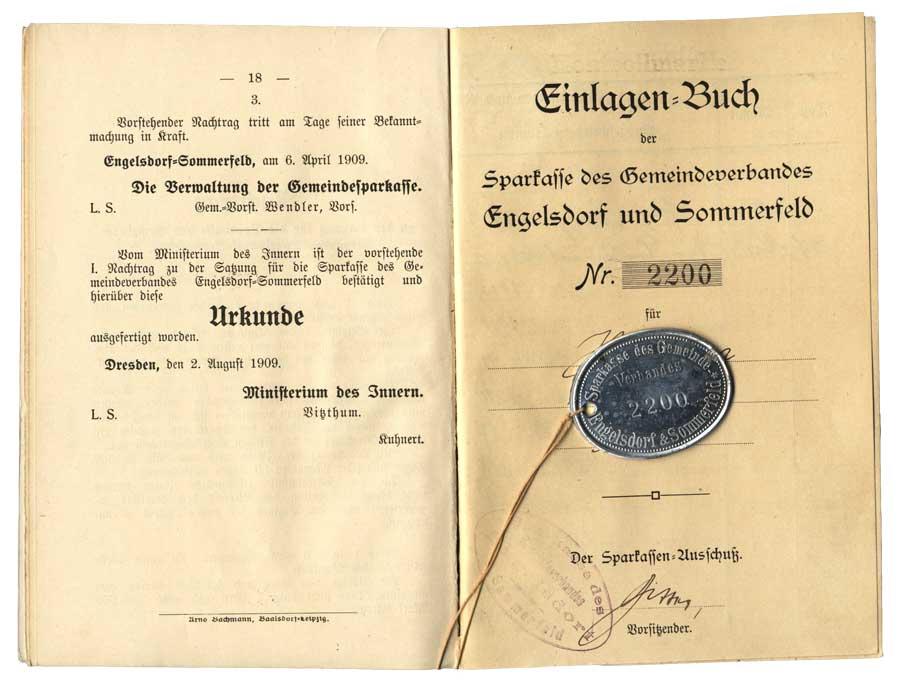 Sparbuch mit Kontrollmarke von 1913
