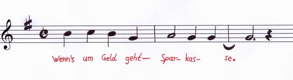 geschützte Hörmarke: Melodie in G-Dur, 2/2-Takt, Noten: h - c - h - g - a - g - g - g (gezeichnet nach der Abbildung im Eintrag beim Deutschen Patent- und Markenamt)