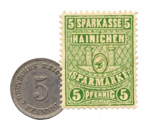 5-Pfennig-Stueck und Sparmark Hainichen