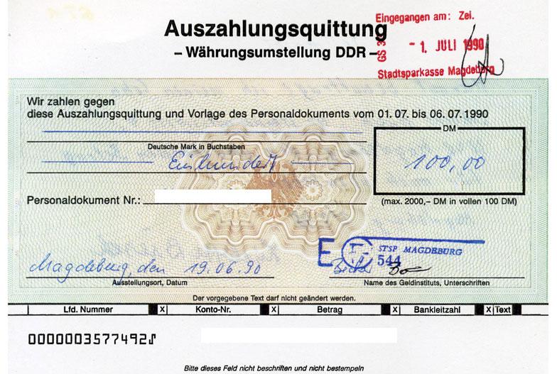 Auszahlungsquittung Magdeburg 1990
