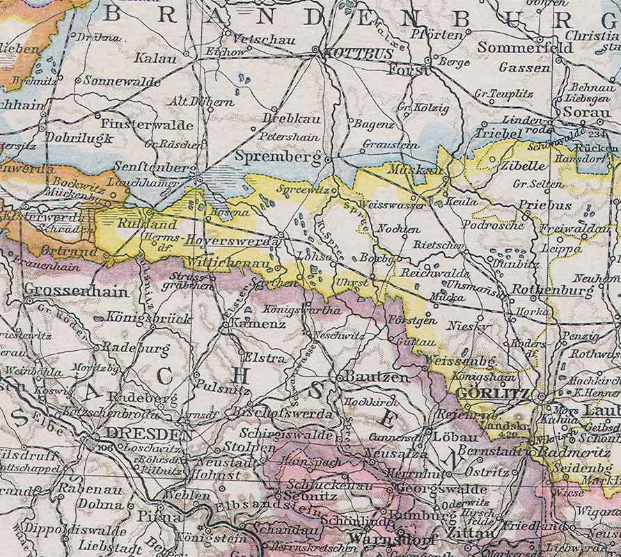 Landkarte Sachsen Preussen 1887