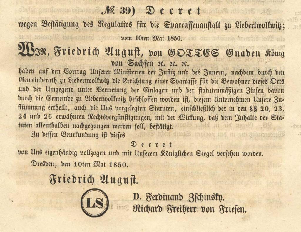 Dekret Bestaetigung Liebertwolkwitz
