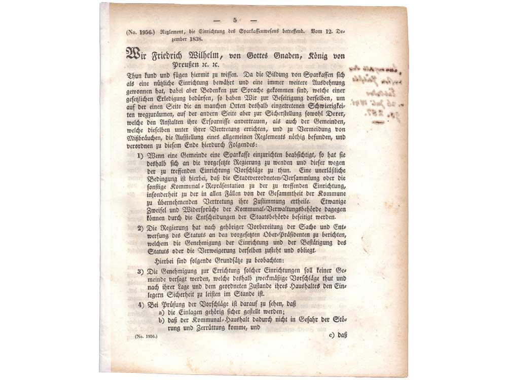Sparkassenreglement 1838