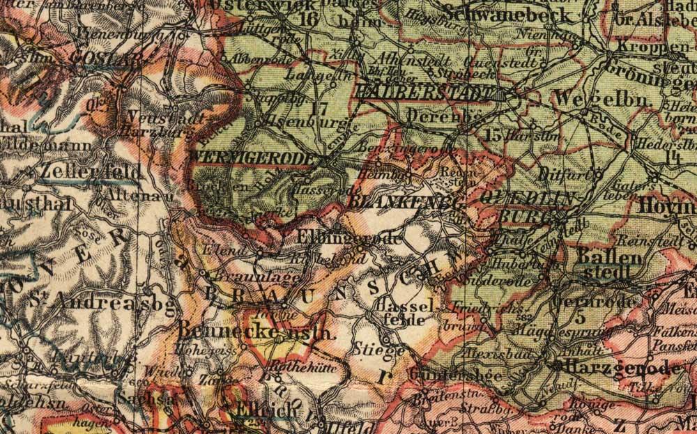 Karte Braunschweig Blankenburg Provinz Sachsen