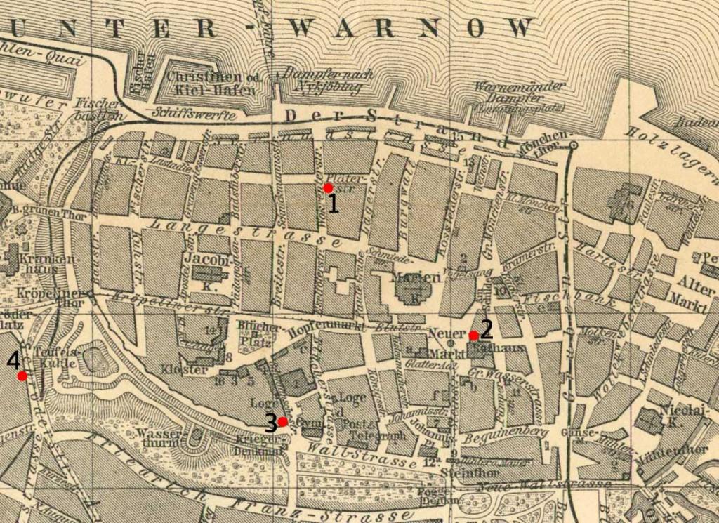 Stadtplan Rostock 1899