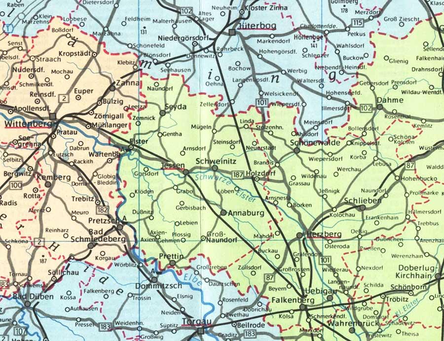 Karte Kreis Jessen 1983