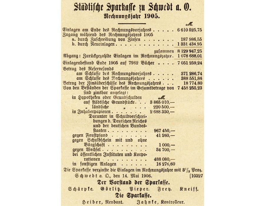 Geschaefstnachweisung Stadtsparkasse Schwedt 1905