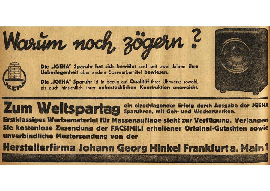 Werbung Sparuhr Weltspartag 1930