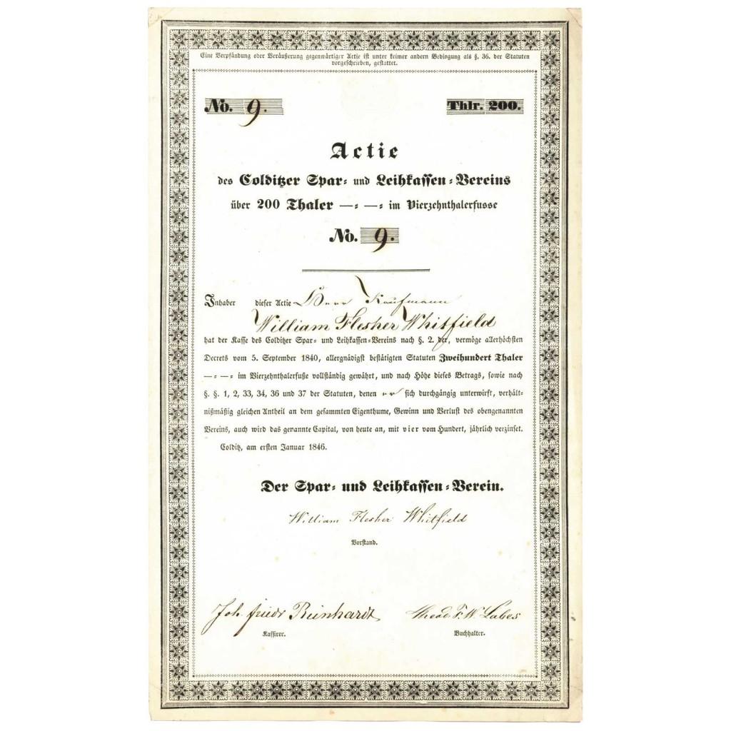 Aktie Sparkasse Colditz 1846