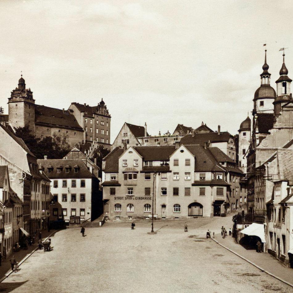 Ansichtskarte Colditz Markt