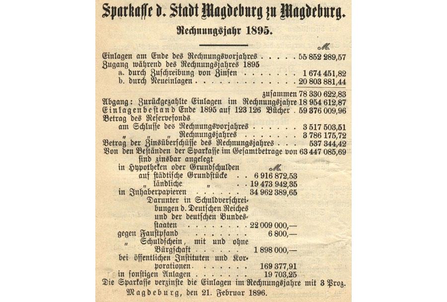 Nachweisung Magdeburg 1895