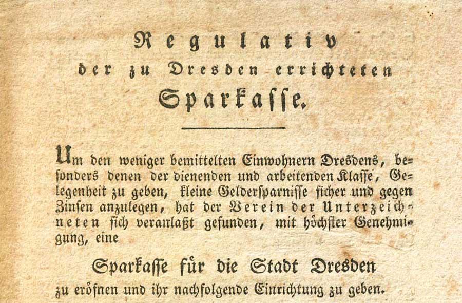 Statut Sparkasse Dresden 1821