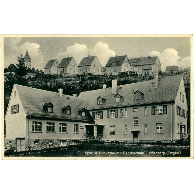 Ansichtskarte Sparkasse Lichtenberg 1940