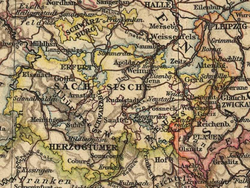 Landkarte Thueringen 1898