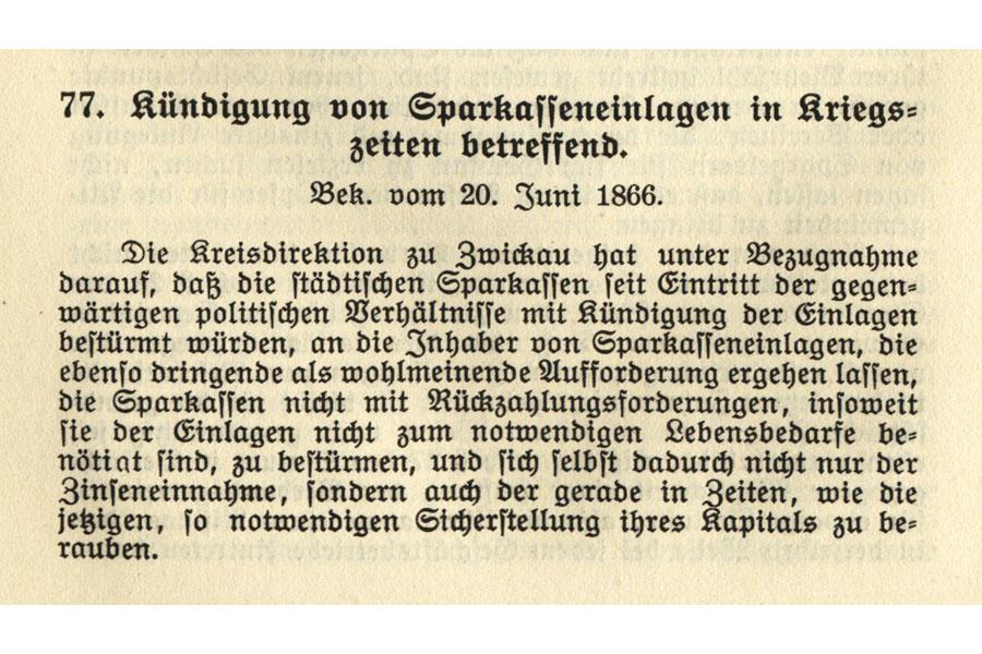 Bekanntmachung Zwickau 1866