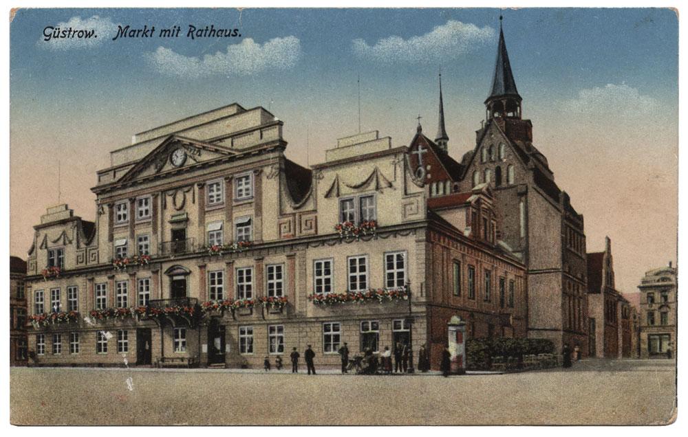 Guestrow Rathaus Ansichtskarte 1916