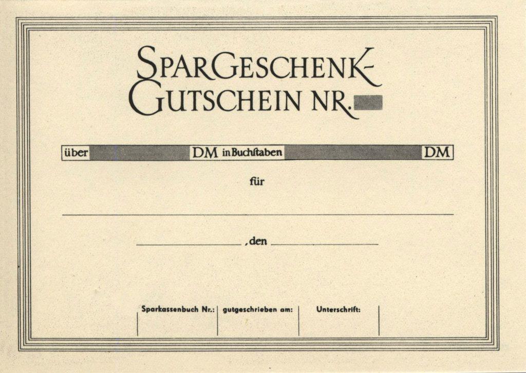 Spargeschenkgutschein innen 1960