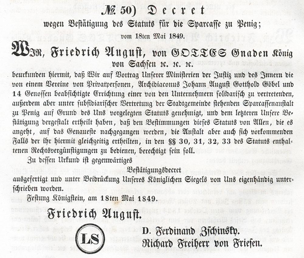 Bestaetigung Sparkasse Penig 1849