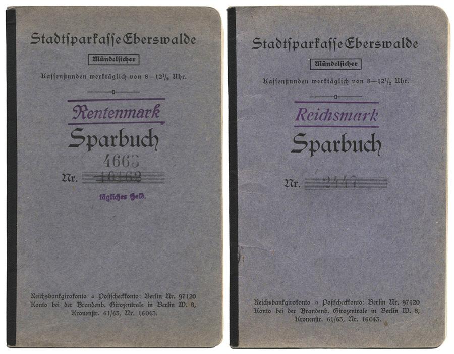 Sparbuch Eberswalde Rentenmark Reichsmark